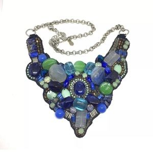 Chico's Bib Necklace Blue Green Bead Gem Stones